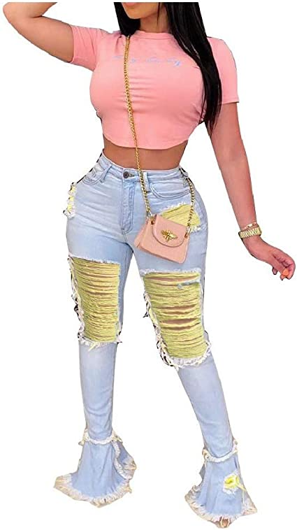 AGAING Womens Jeans Denim Flared Ripped Fashion Flare Bottom Pants