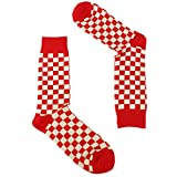 Men's Everday Novelty Whimsical Prints Casual Trouser Dress Casual Comfy Socks Checkered, Red