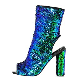 Mid Calf High Heel Sequin Boots