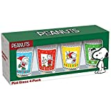 ICUP Peanuts Holiday Stamp Pint Glass (4 Pack), Clear
