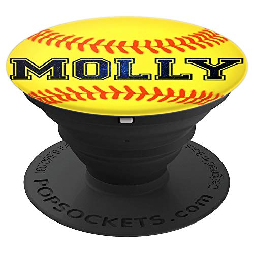 PopSockets Grip Molly Softball Personalized Girl Name Ball - PopSockets Grip and Stand for Phones and ()