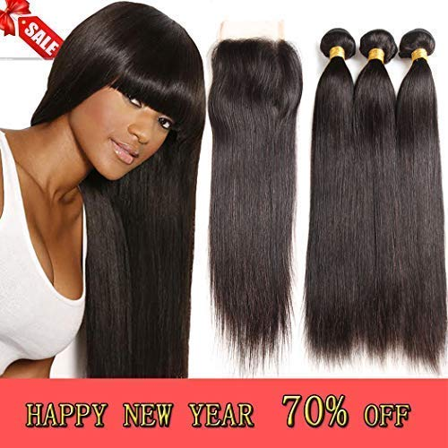 - Brazilian Virgin Straight Hair 3 Bundles with Closure,Unprocessed Straight Human Hair Bundles, 4x4 Lace Closure with Bundles(20 22 24with18)