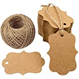 G2PLUS 100 PCS Blank Kraft Gift Tags 2.75''x 1.97'' Paper Hang Tags Price Tags with 100 Feet Jute Twine