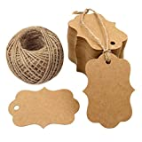 "G2PLUS 100 PCS Blank Kraft Gift Tags 2.75"" x 1.97"" Paper Hang Tags Price Tags with 100 Feet Jute Twine"