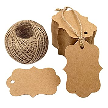 G2PLUS 100 PCS White Paper Gift Tags, 2.75''x 1.97'' Kraft Blank Hang Tags with 100 Feet Jute Twine (White)