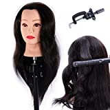 HAIREALM 24'' Mannequin Head 100% Human Hair Hairdresser Training Head Manikin Cosmetology Doll Head (Table Clamp Stand Included) HA0218P
