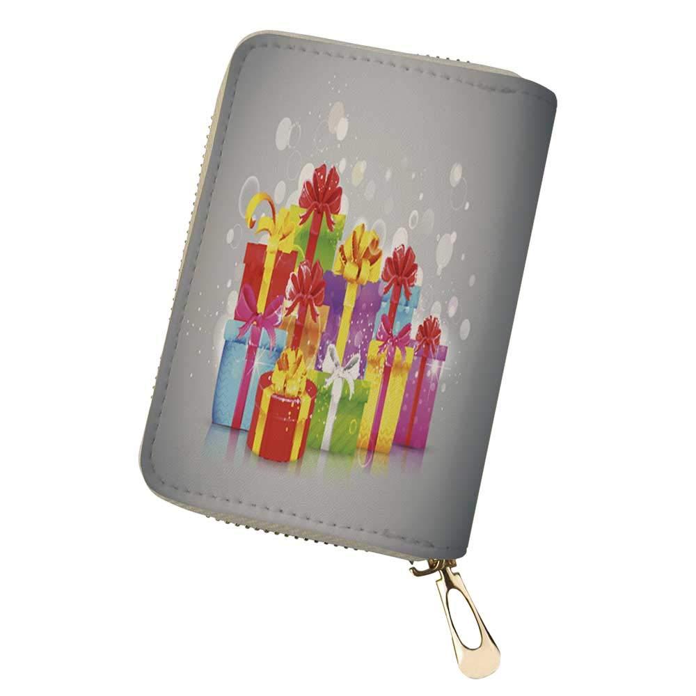 RFID Blocking Credit Card Holder Banner Christmas ca Leather Zipper Card Case