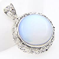 Siam panva Classical Round Cut Rainbow Moonstone Vintage Silver Necklace Pendant For Mother