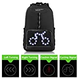 VUP Daypack Bike Bag with Safety LED Turn Signal Light, Wireless Remote Control, Ultra Light Weight Foldable Breathable Sport Cycling Backpack, Water Resistant for Biking, Camping, Hiking, Travel