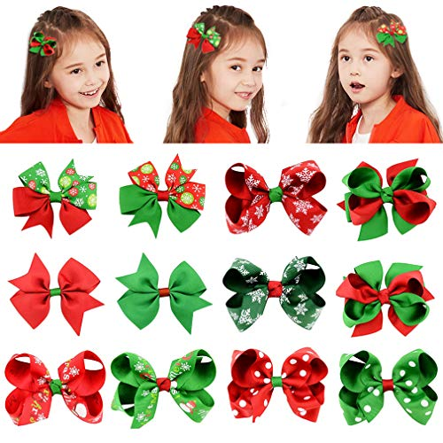 DEEKA Christmas 3 & 4 Hand-made Grosgrain Ribbon Hair Bow Alligator Clips Hair Accessories for Little Girls
