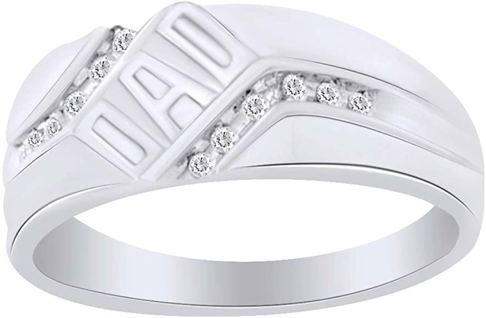 Round Cut White Natural Diamond DAD Ring in 10K Solid Gold 0.12 Cttw For Fathers Day Gift