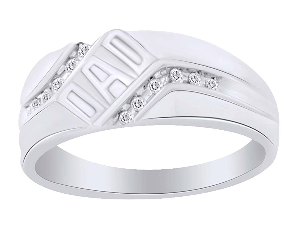 Round Cut White Natural Diamond DAD Ring in 10K White Sold Gold For Fathers Day Gift 0.12 Cttw