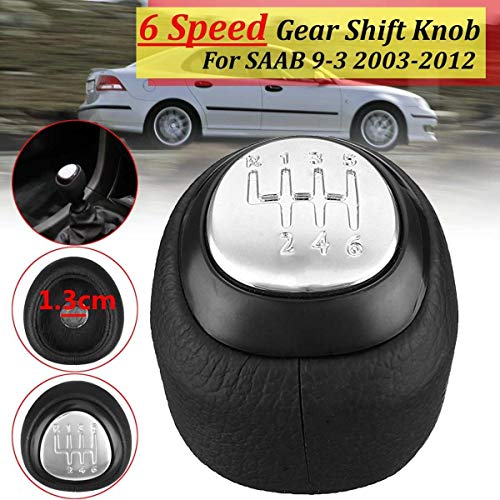 (Carvicto - For SAAB 9-3 2003 04 05 06 07 08 09 10 11 2012 1 Pcs Leather Gear Shift Knob Head Stick Replacement 55566206 55353898 Chrome)