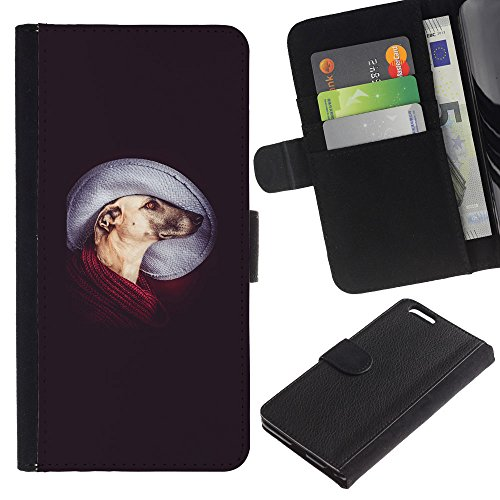 EuroCase - Apple Iphone 6 PLUS 5.5 - greyhound mutt mongrel art dog - Cuir PU Coverture Shell Armure Coque Coq Cas Etui Housse Case Cover