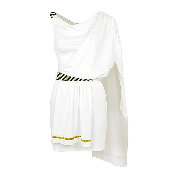 dPois Disfraz Romana para Mujer Adulta Vestido Corto Blanco ...