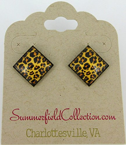Antiqued Gold-tone Animal Print Stud Earrings Geometric Square Shaped 12mm Antiqued Brass Diamond
