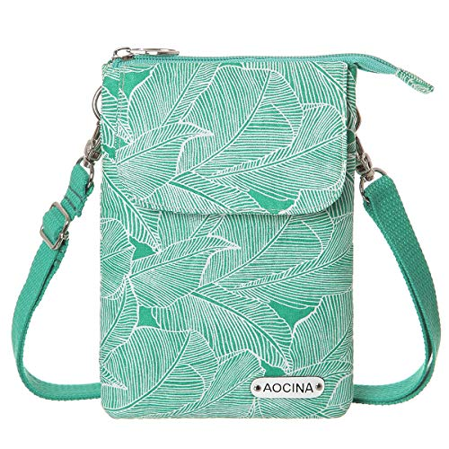 AOCINA Cell Phone Purse Wallet Canvas Leaf Pattern Small Crossbody Purse Bags For Women (Green.) (Crossbody Bag Pattern)