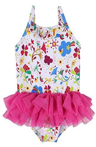 Ruffle Piece One Infant Swimsuit (belamo Infant Baby Girls Swimwear Flower lace Skirt Ruffle Swimsuit 0-6 Months)