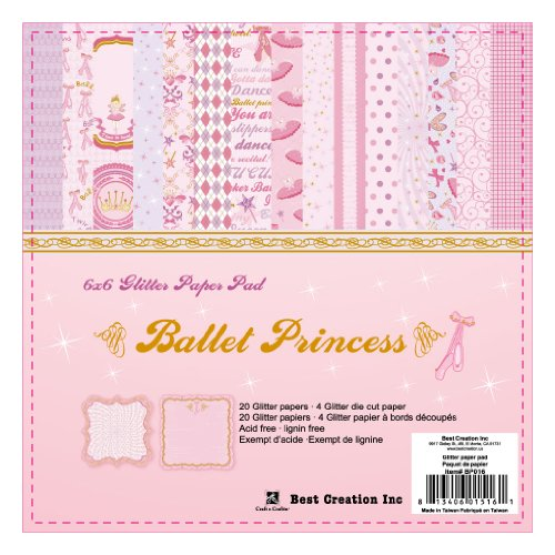 (Best Creation 6 by 6-Inch 22 Page Glitter Paper Pad with Die-Cuts, Ballet Princess)