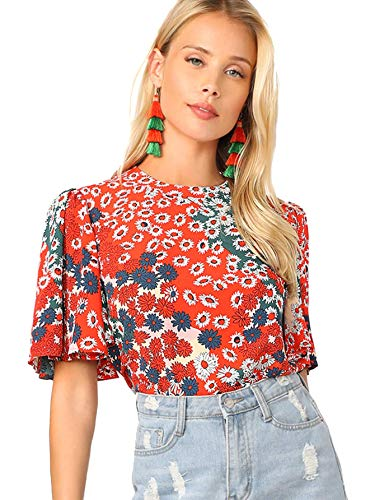 Romwe Women's Floral Print Butterfly Sleeve Mock Neck Casual Blouse Top Multicolor Medium