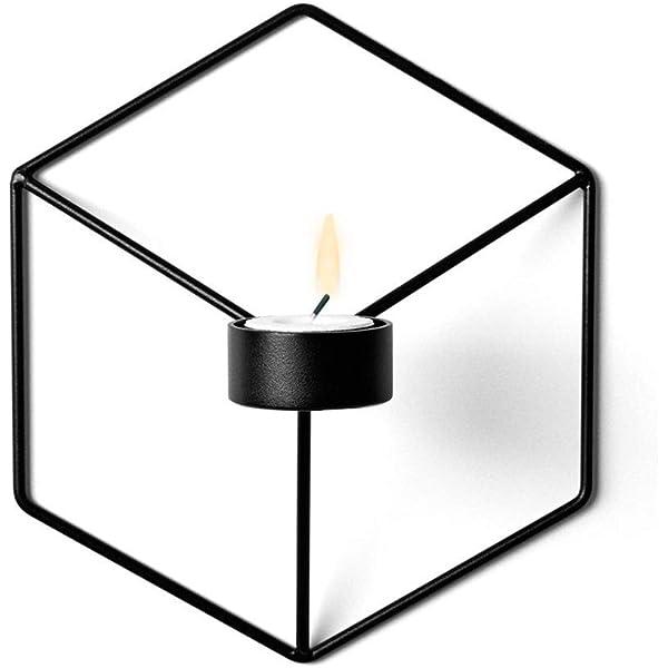 BONMW Candelabro 3D Geom/étrico Estilo Moderno Metal Luz De T/é Candelero para Colgar Adornos De Pared Fiestas Eventos Decoraciones para El Hogar Regalos Black-b