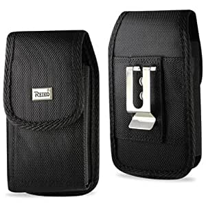 (PLUS SIZE) Heavy Duty Rugged Nylon Canvas Protective Carrying Cell Phone Case Pouch (with Metal belt Clip) for IPHONE 3G/4S (PLUS SIZE- (Fits With SINGLE LAYER PROTECTOR/SKIN ALREADY ON THE IPHONE) - BLACK