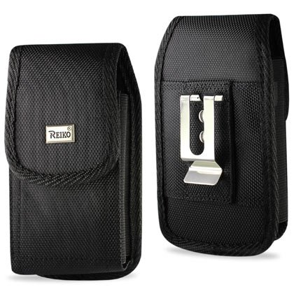 Iphone 3g Belt Clip - (PLUS SIZE) Heavy Duty Rugged Nylon Canvas Protective Carrying Cell Phone Case Pouch (with Metal belt Clip) for IPHONE 3G/4S (PLUS SIZE- (Fits With SINGLE LAYER PROTECTOR/SKIN ALREADY ON THE IPHONE) - BLACK