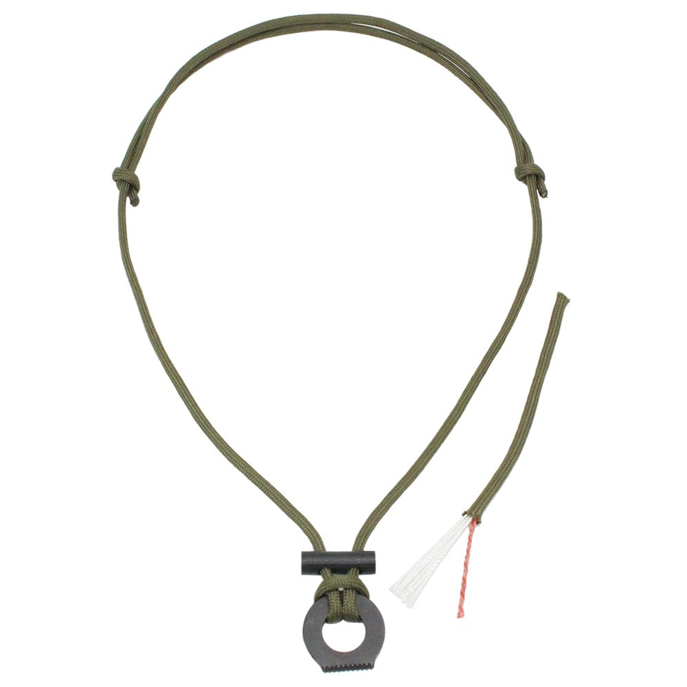 SURVIVAL Paracord Fire Starter Survival Necklace Survival Gear Flint and Steel Kit Magnesium Ferro Rod Tool with Tinder Cord Paracord Pendant(Army Green)
