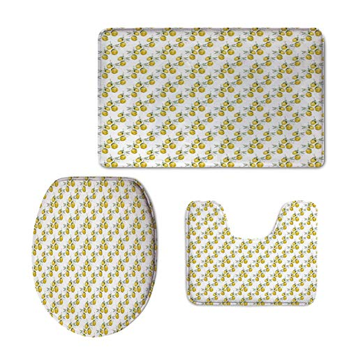 iPrint Fashion 3D Baseball Printed,Nature,Lemon Tree Branches Agriculture Kitchen Lemonade Citrus Figure Graphic Art,Olive Green Yellow,U-Shaped Toilet Mat+Area Rug+Toilet Lid Covers 3PCS/Set -