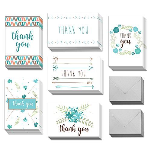 36 Blank White Thank You Cards - Bulk 4x6 Cute Arrow Cards with Envelopes for Women