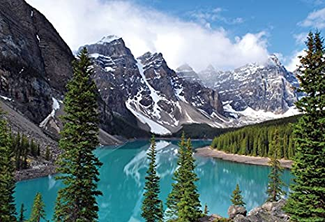 9x16Ft Vinyl Nature Backdrop for Photography,Moraine Lake Banff National Park Canada Mountains Pines Valley of the Ten Peaks Background Newborn Baby Photoshoot Portrait Studio Props Birthday Party Ban