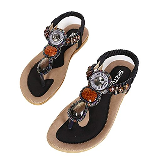 Flips Sandals Womens Sole (Women's Girls Flip Sandals,Bohemia Shoes [Spring Summer Flat Sandals] Nice Sandals Clip Toe for Beach (Black, 39(US 8)))