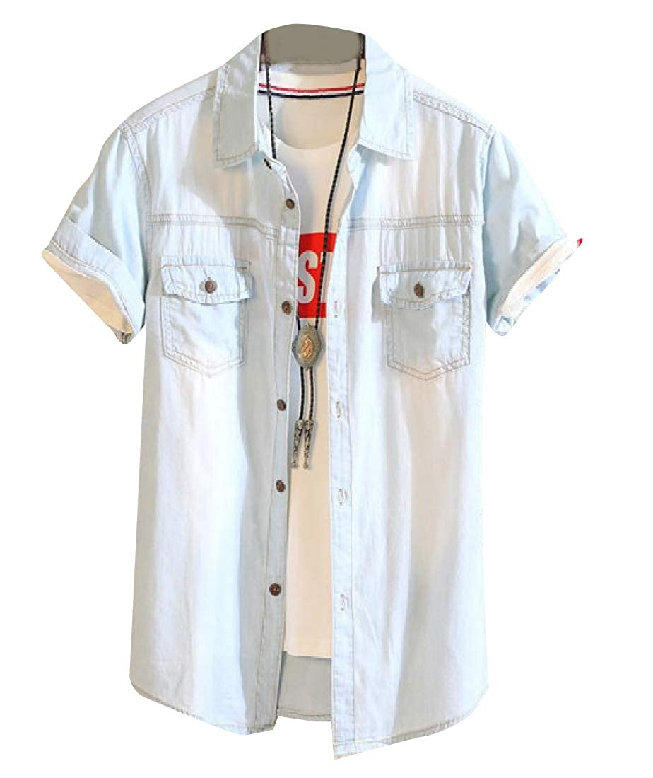 Tootless-Men Washed Comfortable Classic Fit Button Down Jean Shirt