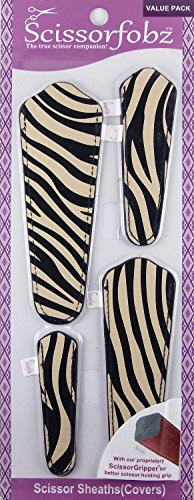 Scissors by SCISSORFOBZ with ScissorGripper -Value Pack-4 Sizes- Designer Scissor sheaths Covers Holders for Embroidery Sewing Quilting - Quilters sewers Gift - Blk-Beige Zebra Skin Print. S-08
