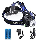 Headlamp LED, JIRVY Rechargeable Headlight Adjustable Head Super Bright Zoomable Flashlight 3 Modes Hands-free Lantern for Hunting Camping Fishing Hiking