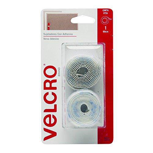 Velcro Brand 80017N Cinta Sujetadora con Adhesivo de 90 x 1.9 cm, 1 juego, blanco