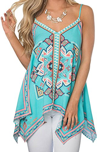 YeeATZ Women Bluish Tribal Print Summer Holiday Tank Top (Sink Inset Double)