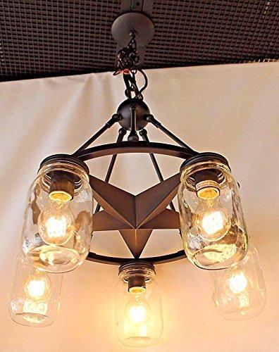 Mason Jar Lighting, 5 light dark bronze lone star chandelier with clear mason jar glass (Mason Jar Chandelier)