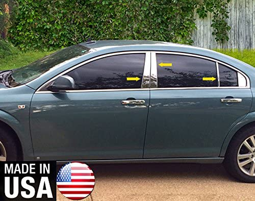 Works with 2007-2009 Saturn Aura 6 PC Stainless Steel Chrome Pillar Post Trim Made in USA
