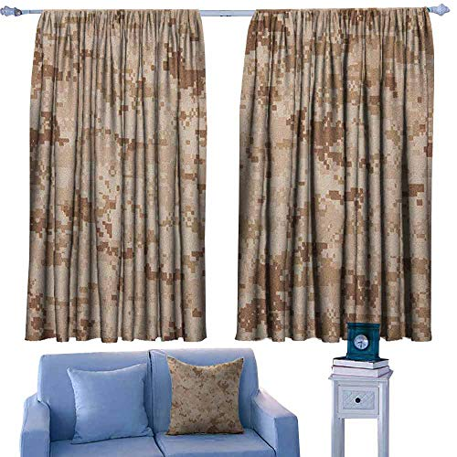 Camo Rod Pocket Indo Curtain US Marine Desert Marpat Digital Texture Background in Brown Colors,Curtains for Kids' Room,W52 x L84 Inch