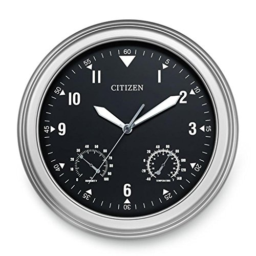 Citizen Outdoor Water Resistant Silver Tone Wall Clock CC2017