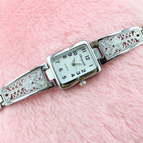 U-beauty Fashion Women /Ladies Gold/Silver Bracelet Wrist Watch Quartz Watches Ladies Wrist Watch Gift (Sliver  and White)