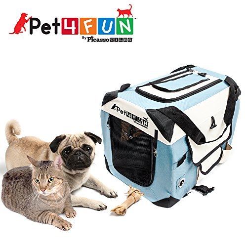 PET4FUN® PN950 Foldable Pet Puppy Dog Cat Carrier & Travel Crate w/ Premium 600D Oxford Cloth, Strong Steel Frame, Carry Bag, Locking Zippers, Washable Nap Pad, Airy Windows | 3 Size & 3 Colors