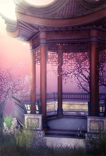 Leyiyi 6x9ft Exquisite Chinese Garden Backdrop Spring Cherry Sunset Flower Blossom Historical Architecture Traditional China Resort Photography Background Retro Pavilion Photo Studio Prop Vinyl Banner
