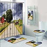 Philip-home 5 Piece Banded Shower Curtain Set Country Road with Red Barn and Tractor On Side Shower Curtain/Toilet seat/Bath Towel