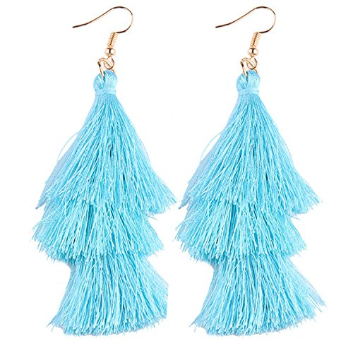 a21e0550a SUNJIN ARCO Women's Tassel Earrings Tiered Thread Tassel Dangle Earrings  Statement Layered Tassel Drop Earrings (