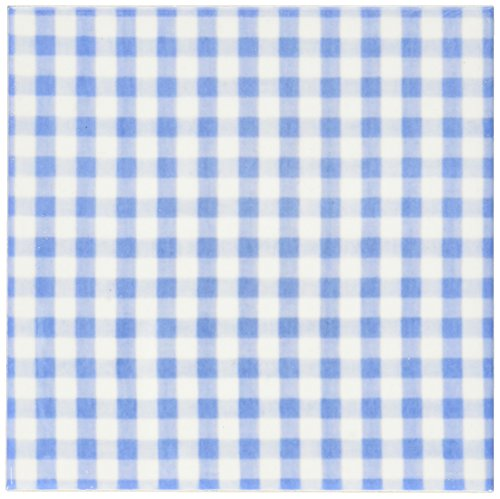 3dRose cst_113015_3 Dark Blue and White Gingham Pattern-Cute Navy Retro Checks Checkered Kitchen Dining Theme-Ceramic Tile Coasters, Set of 4