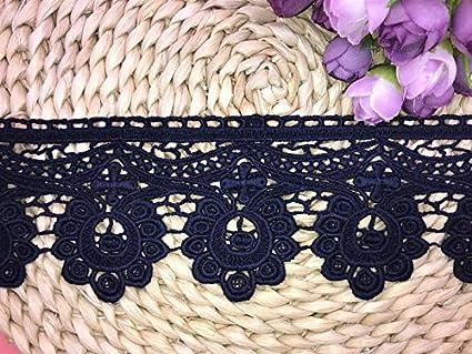 Navy blue Floral Venise Lace Applique Sewing Trim Bridal Wedding Applique 2 yards