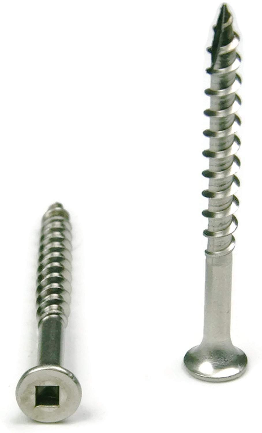 #12 x 2-1/2'' Stainless Steel Wood Screw Square Drive, Bugle Head (Quantity: 1200) Type 17 Wood Cutting Point, 1-3/4'' of Thread Length, 12 Screw Diameter, 2-1/2'' Screw Length