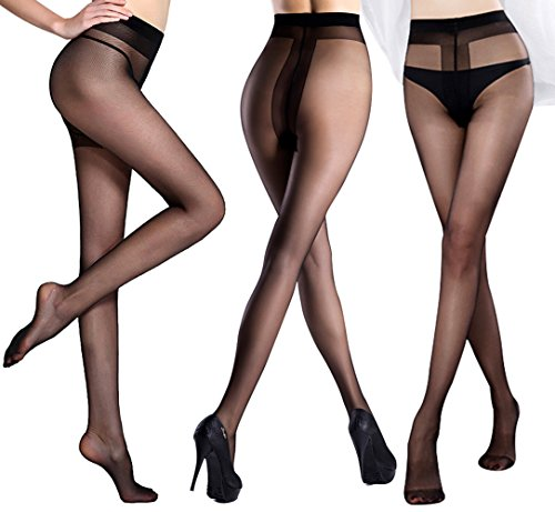 Opaque Sheer Pantyhose (Pantyhose 3 Pack in Different Style-Control Top Tights Sheer-T Crotch Stockings For Slit Dress-Pantyhose With Opaque Panty (L, Black))